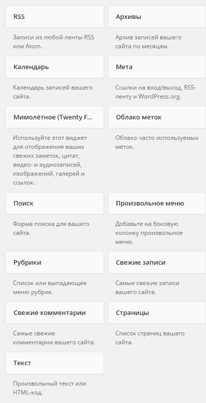 Стандартные виджеты WordPress